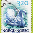 Swan Norwegian Stamp — Stock Photo #27933993