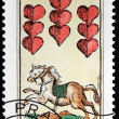 Nine of Hearts Stamp — Stock Photo