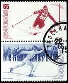 Two Skiing Stamps — Stock Photo