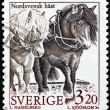Swedish Horses Stamp — Stock Photo