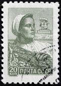 Farm Worker Stamp — Stock Photo
