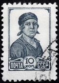 Female Worker Stamp — Stock Photo