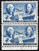 Washington and Franklin Stamps — Stock Photo