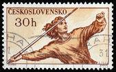 Javelin Throwing Stamp — Stock Photo