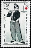 Young Flautist Stamp — Stock Photo