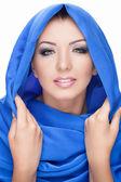 Woman wearing shawl — Stock Photo