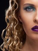 Closeup half face portrait of girl — Stock Photo