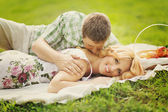 Couple on summer picnic — Stock Photo