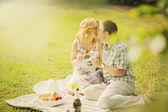Couple on summer picnic — Stock Photo