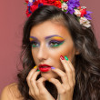 Beautiful brunette wearing flower headband — Photo