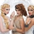 Three beautiful retro style girls — Stock Photo