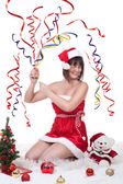Girl exploding christmas cracker — ストック写真