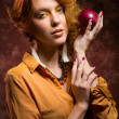 Autumn girl with apple — Lizenzfreies Foto