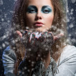 Girl blowing snowflakes — Stock Photo #36666385