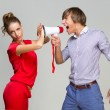 Young man screaming at girlfriend — Stock Photo