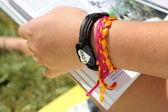 Bracelet on a female hand — Stock Photo