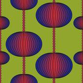 Färgglada mönster på en grön bakgrund med cirklar — Stockvektor