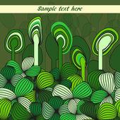 Resumen fondo verde con flores de primavera — Vector de stock