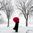 Young Walking Snow — Stock Photo