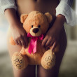 Woman with Teddy Bear — Stock Photo