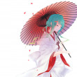 Portrait Geisha with a umbrella — Stock Photo