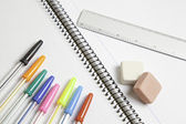 Pens with rubber and ruler — Stock Photo
