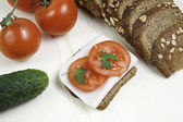 Turkey vegetable sandwich — Stock Photo