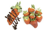 Sliced ??strawberries with chocolate — Stock Photo