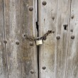 Stock Photo: Wooden door with padlock