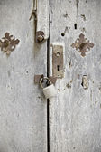 Wooden door with lock — Stock Photo