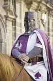 Medieval knight on horseback — Stock Photo