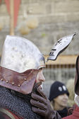 Medieval knight with helmet — Stock Photo
