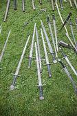 Displays of antique swords — Stock Photo