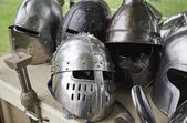 Old medieval helmets — Stock Photo