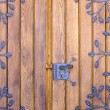 Wooden door with ironwork — Stock Photo