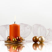 Candle and flasks — Stock Photo