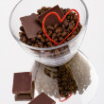 Coffee chocolate hearts — Stock Photo
