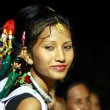 Dancing typical woman of Nepal — Stock Photo