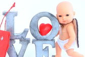 Little San Valentine & LOVE — Stock Photo