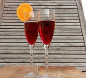 Wine & orange slice — Stock Photo