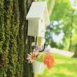 Stock Photo: White bird house & flowers