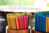 Incense sticks in pots — Stock Photo