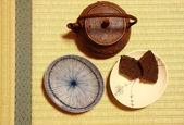 Japanese teapot over tatami — Stok fotoğraf