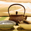 Stock Photo: Iron teapot on tatami