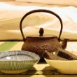 Iron teapot on tatami — Stock Photo #37841527