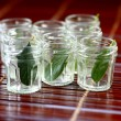 Leaves in glasses — Stock Photo #41064687