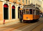 Yellow tram-Lisbon — Stock Photo