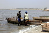 Fishing in the Pink lake-Dakar — Stock Photo