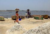 Working in Lake Retba-Dakar — Stock Photo