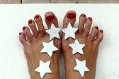Stars in foot — Stock Photo